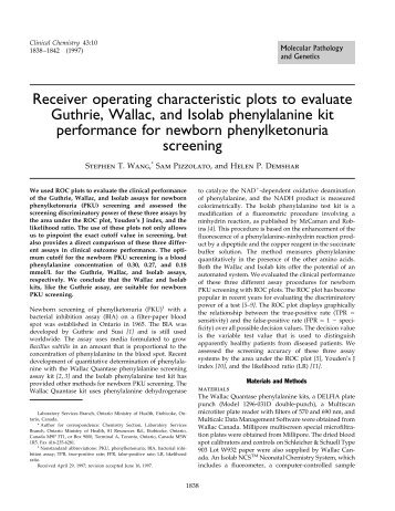 Receiver operating characteristic plots to ... - Clinical Chemistry
