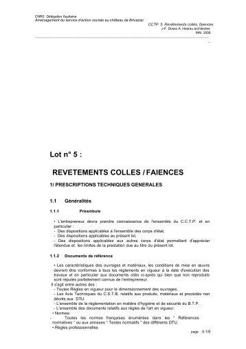 Lot n° 5 : REVETEMENTS COLLES /FAIENCES - CNRS