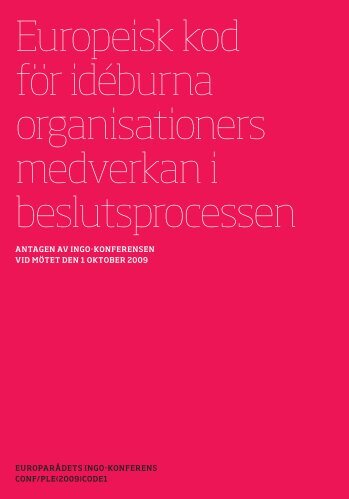 Europeisk kod för idéburna organisationers medverkan i ...