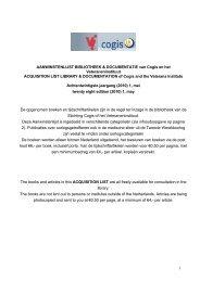 AANWINSTENLIJST BIBLIOTHEEK & DOCUMENTATIE van Cogis ...