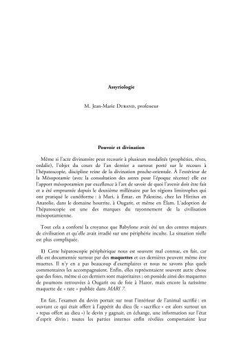 Résumé des cours 2008-2009 - Chaire d'Assyriologie - Collège de ...