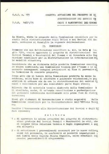 """O.,d. G, n"""" 177 OGGETTOI ATTUAZIONE DEL PROGETTO DI RI"""