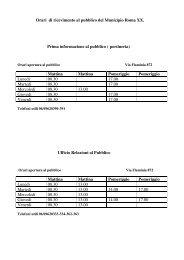 Orari di ricevimento al pubblico del Municipio ... - Comune di Roma
