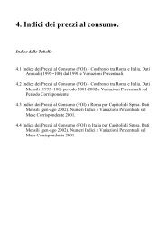 4. Indici dei prezzi al consumo. - Comune di Roma