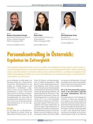 Personalcontrolling in Österreich: Ergebnisse im ... - Controller Institut