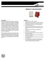 SERIES ET-1080 SPEAKERS - Cooper Industries