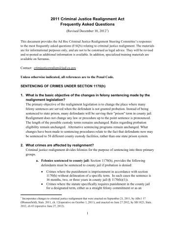 2011 Criminal Justice Realignment Act ... - California Courts