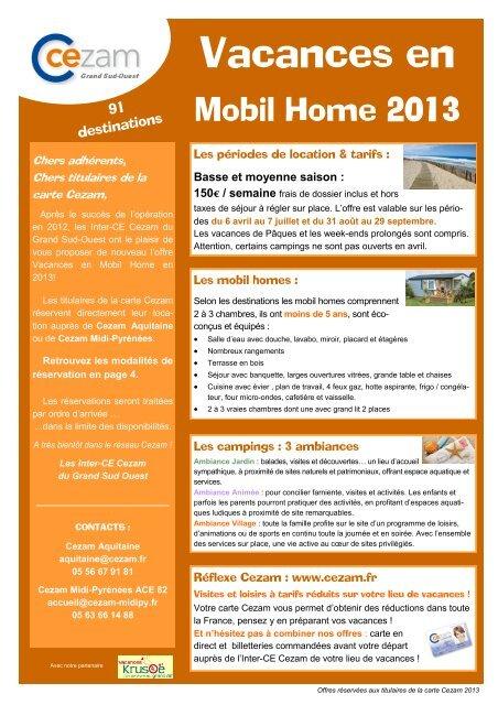 Carte Cezam Location Mobil Home.2013 Mobilhomekrusoe Pdf Credes