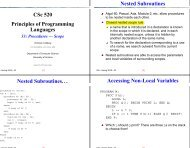 CSc 520 Principles of Programming Languages Nested Subroutines ...