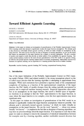 Toward efficient agnostic learning - Princeton University
