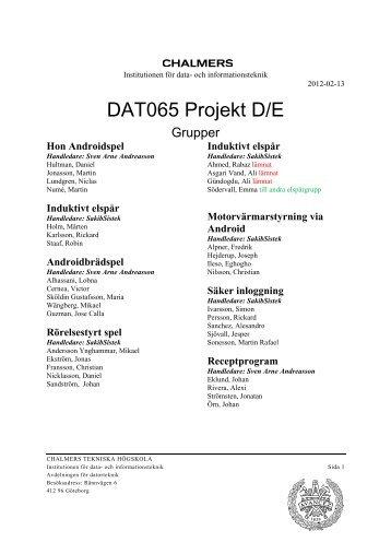 Projektgrupper - Chalmers tekniska högskola