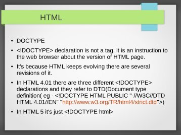 DOCTYPE  declaration is not a tag, it is an instruction ...