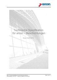 Technische Spezifikation für arcon – Beschichtungen - Arcon Glas