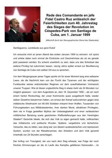 Rede des Comandante en jefe Fidel Castro Ruz anlässlich der ...
