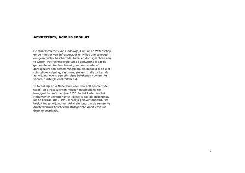 TOELICHTING Admiralenbuurt - Rijksdienst voor het Cultureel Erfgoed