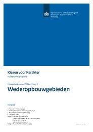 Uitvoeringsprogramma Wed eropbouwgebieden - Rijksdienst voor ...