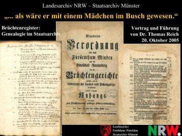 Brüchtenregister - Archive in Nordrhein-Westfalen