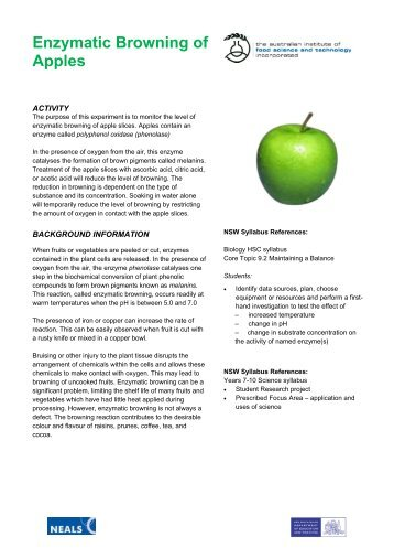 enzymatic browning of apples essay Key words: apple, enzymatic browning, inhibition,  'red delicious' and 'granny smith' apples were picked in  browning and have been also used in numerous.