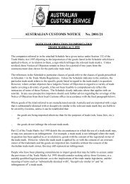 AUSTRALIAN CUSTOMS NOTICE No. 2001/21