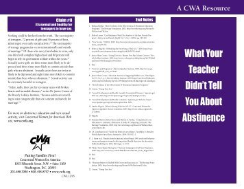 What Your Teacher Didn't Tell You About Abstinence - Concerned ...