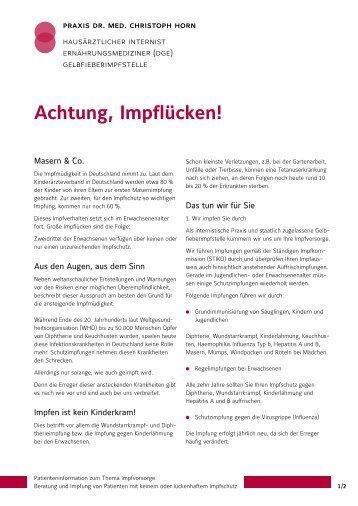 Achtung, Impflücken! - Arztpraxis Dr. med. Christoph Horn
