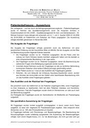 Patientenbefragung – Auswertung - Arztpraxis Frithjof Schwarz