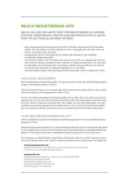 faktaarket om registreringsforpligtelsen (REACH) (pdf) - Dansk Erhverv