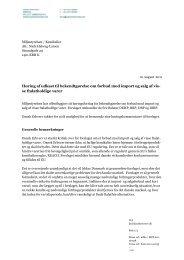 Høring af udkast til bekendtgørelse om forbud mod ... - Dansk Erhverv