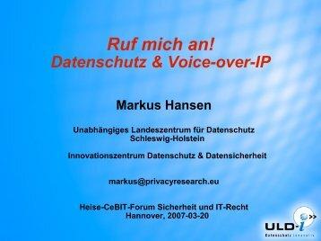 Markus Hansen: Datenschutz und VoIP - Unabhängiges ...