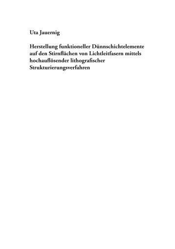 Uta Jauernig Herstellung funktioneller Dünnschichtelemente auf ...