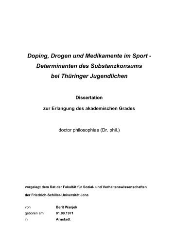 Doping, Drogen und Medikamente im Sport - Determinanten des ...