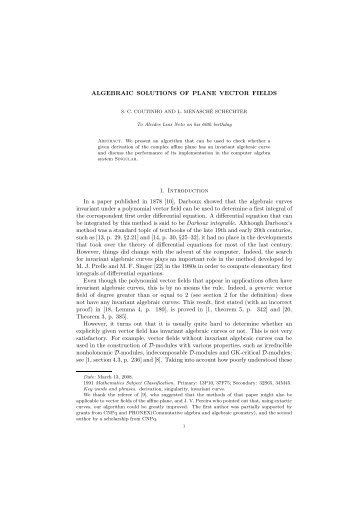 ALGEBRAIC SOLUTIONS OF PLANE VECTOR FIELDS ... - dCC-UFRJ