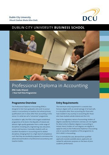 Professional Diploma in Accounting Factsheet - DCU