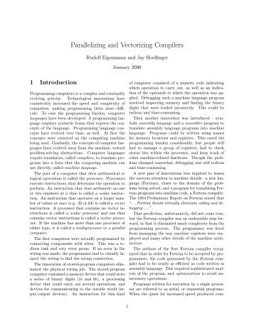 Parallelizing and Vectorizing Compilers - Computer Science