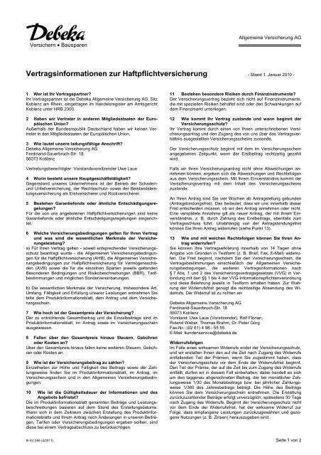 Vertragsinformationen Zur Haftpflichtversicherung Debeka