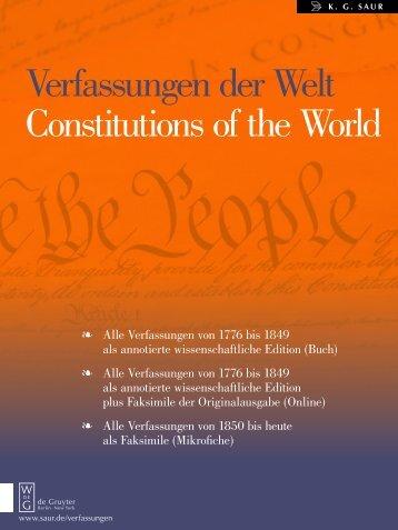 Verfassungen der Welt Constitutions of the World - Walter de Gruyter