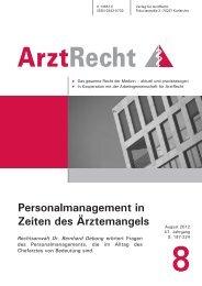 Personalmanagement in Zeiten des Ärztemangels - ArztRecht