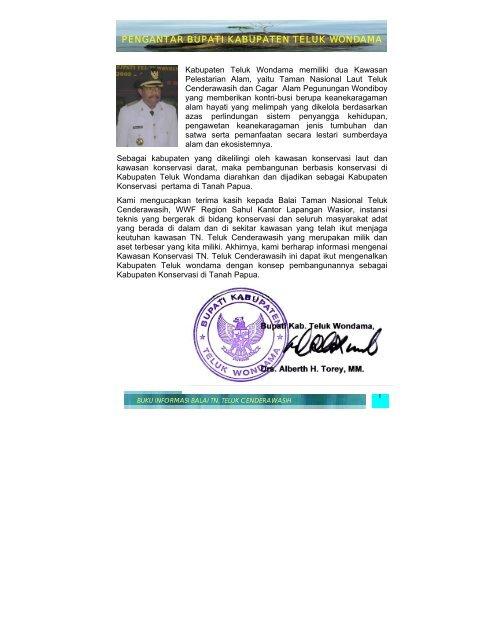 Pengantar Bupati Kabupaten Teluk Wondama Departemen Kehutanan