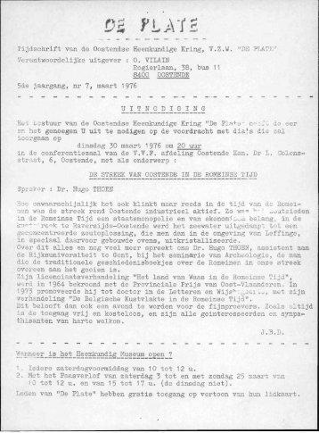 Tijdschrift van do Oostendse Heemkundige Kring, V.Z.W. ... - De Plate