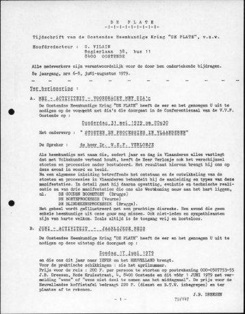 """DE PLATE Tijdschrift van de Oostendse Heemkundige Kring """"DE ..."""