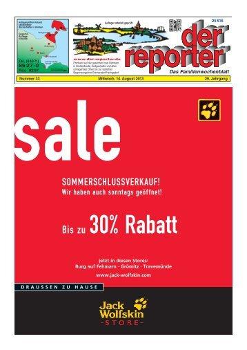 der reporter - Das Familienwochenblatt für Fehmarn 2013 KW 33