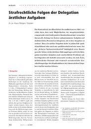 Strafrechtliche Folgen der Delegation ärztlicher Aufgaben - Arztrecht