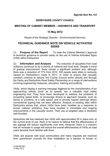 technical guidance note on vehicle activated signs - Derbyshire ...