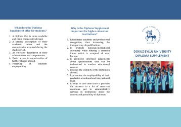 diploma supplement brochure - Dokuz Eylül Üniversitesi