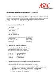 Öffentliches Verfahrensverzeichnis der ASAG GmbH