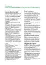 Produkt und Kundeninfo für die allgemeine Unfallversicherung