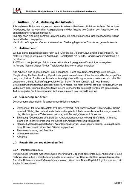 Anhang J Aufbau Und Ausführung Der Arbeiten