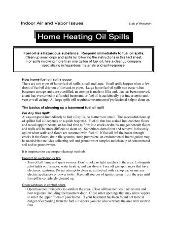 Air Issues -- Home Heating Oil Spills Fact Sheet - Wisconsin ...