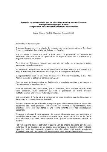 Discurso Apertura Vlaamse Vertegenwoordiging