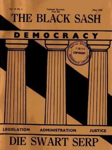 The Black Sash/Die Swart Serp Volume 12 Number 1 May ... - DISA